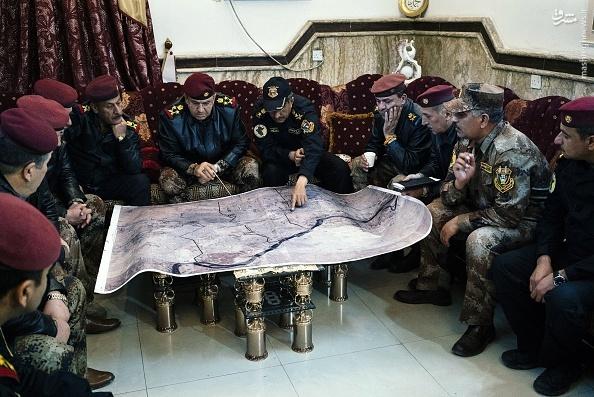 عکس/ اتاق فکر فرماندهان ارتش عراق در نبرد موصل