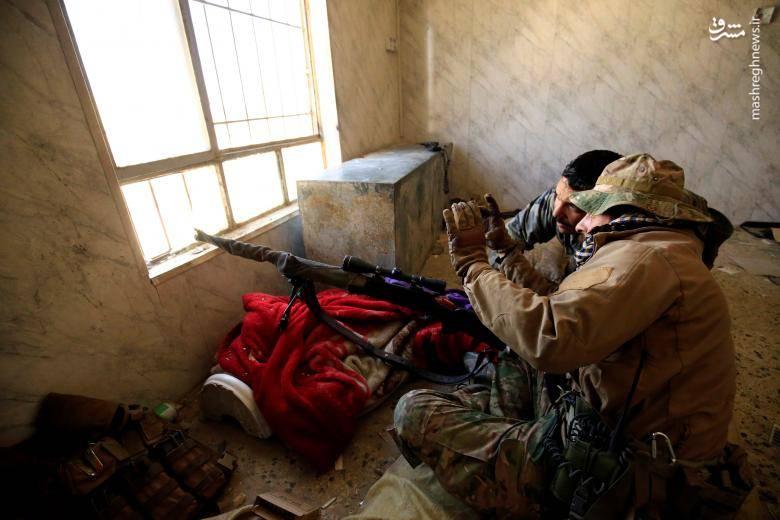 تک تیراندازان نظامی عراقی در عملیات آزادسازی موصل