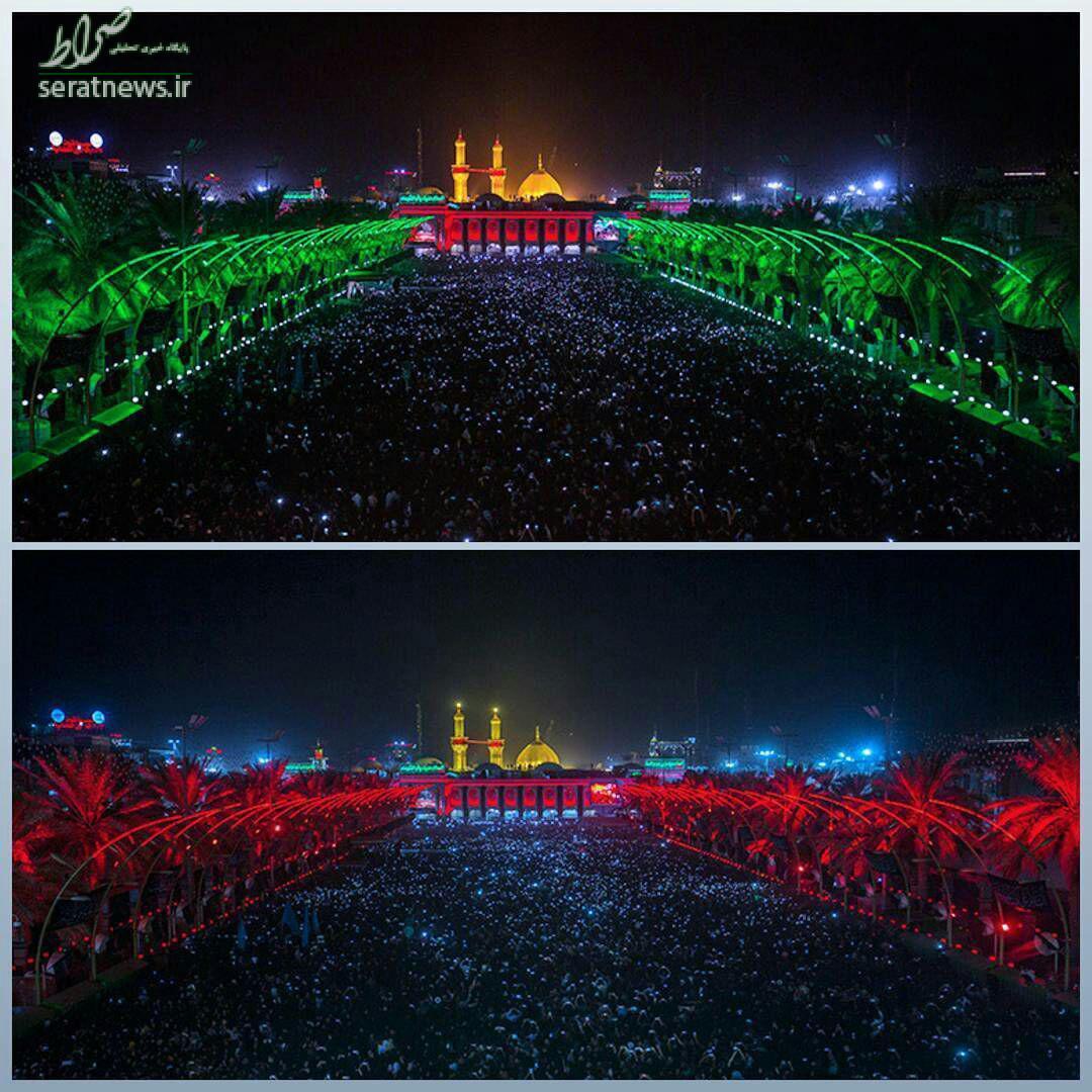 تصویری زیبا از بینالحرمین در شب اول محرم