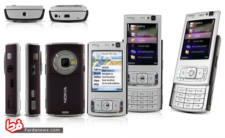 نوکیا N95- این گوشی اسلایدی که در سال 2007 به بازار عرضه شد از سیستم عامل سیمبیان بهره می برد و با دوربین 5 مگاپیکسلی، بلوتوث، وای فای و صفحه نمایش بزرگ 2.6 اینچی نخستین رقیب آیفون به شمار میآمد.