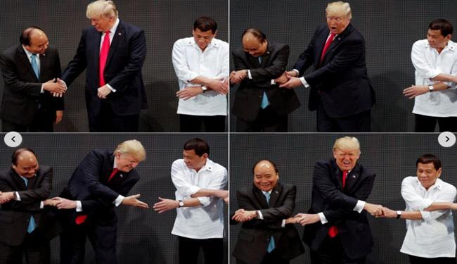 دست دادن ترامپ در فیلیپین موضوع گردید + تصویر