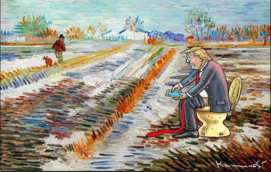 کاریکاتور: ترامپ و توالت طلا!