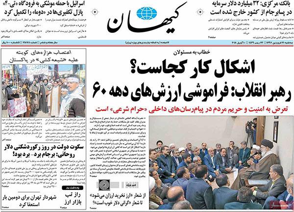 عنوان های روزنامههای امروز ۲۱ / ۰۱ / ۹۷
