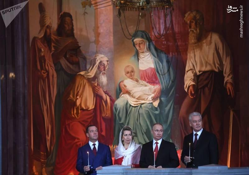 حضور رئیسجمهور و نخستوزیر روسیه در یک مراسم مذهبی در مسکو