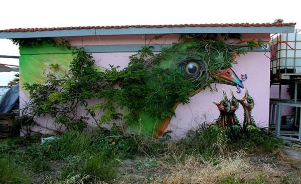 ترکیب تماشایی نقاشی های خیابانی با طبیعت
