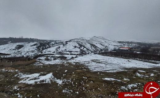 لباس سفید زمستان بر تن روستای خاوه+تصاویر