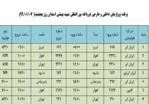 برنامه پروازهای ۷ فروردین فرودگاه شهید بهشتی اصفهان