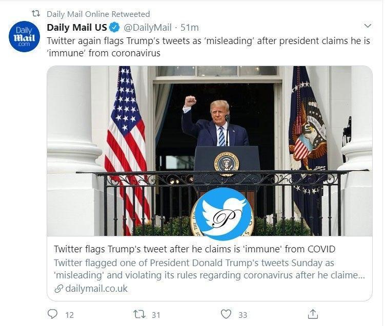 توئیت رئیس جمهور آمریکا دوباره علامت دار شد